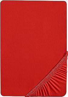 Castell 0077113 Drap housse en Jersey extensible (hauteur du matelas max.22 cm) 1x 140x200 cm > 160x200 cm, rouge