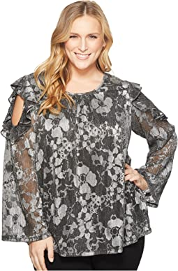 Plus Size Ruffle Cold Shoulder Long Sleeve Top