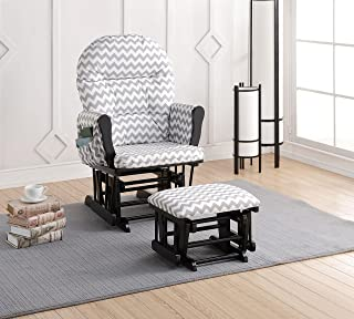 Naomi Home Brisbane Glider & Ottoman Set Black/Gray Chevron