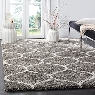 Safavieh Hudson Shag Collection SGH280B Grey and Ivory Moroccan Ogee Plush Area Rug (9' x 12')