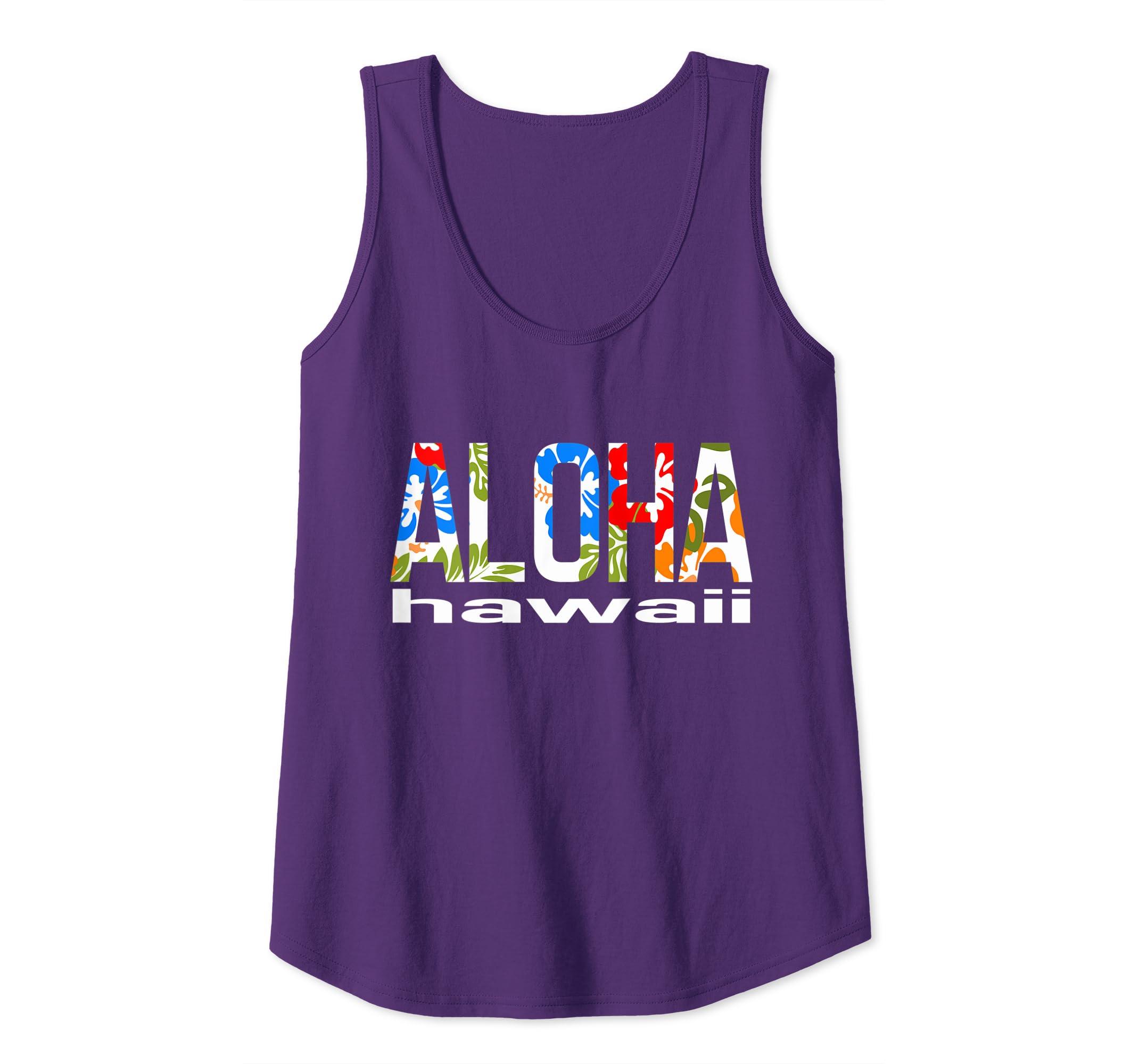 ed3fd0e2 Amazon.com: Aloha Hawaiian Flowers Hawaii Funny Vacation Surf Tank Top:  Clothing