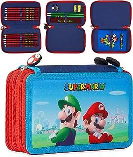 Super Mario Duży piórnik, wypełniony piórnik z kolorowymi ołówkami, ołówkami, temperówką, gumkami i notatnikiem Super Mario