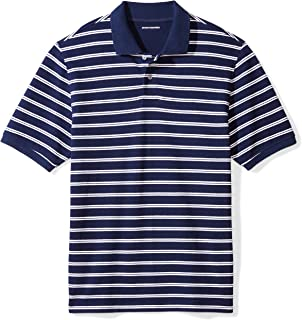Amazon Essentials Men's Regular-Fit Striped Cotton Pique Polo Shirt