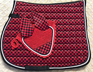 Lift Sports New Horse English Saddle Pad Set Matching Fly Bonnet Veil Ear Net Polyester Hand Made Crochet Full Size Equestrian Shows Tack
