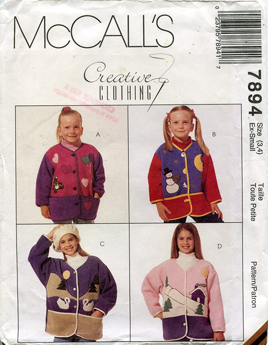McCall's Creative Clothing Pattern 7894 Girl's Jacket with Appliques, Size Extra-Small (3-4)