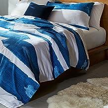"Rivet Modern Shibori Watercolor Gaurmet-Washed Stripe, Full / Queen, Duvet Cover Bedding Set, 90"" x 90"", Indigo"