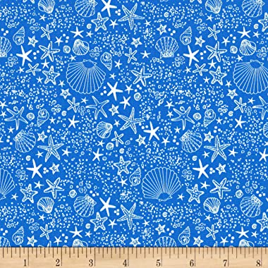 Michael Miller Fiveloaves Twofish Just Shellin' Seashore Wave Fabric, 37 Denim, Fabric By The Yard