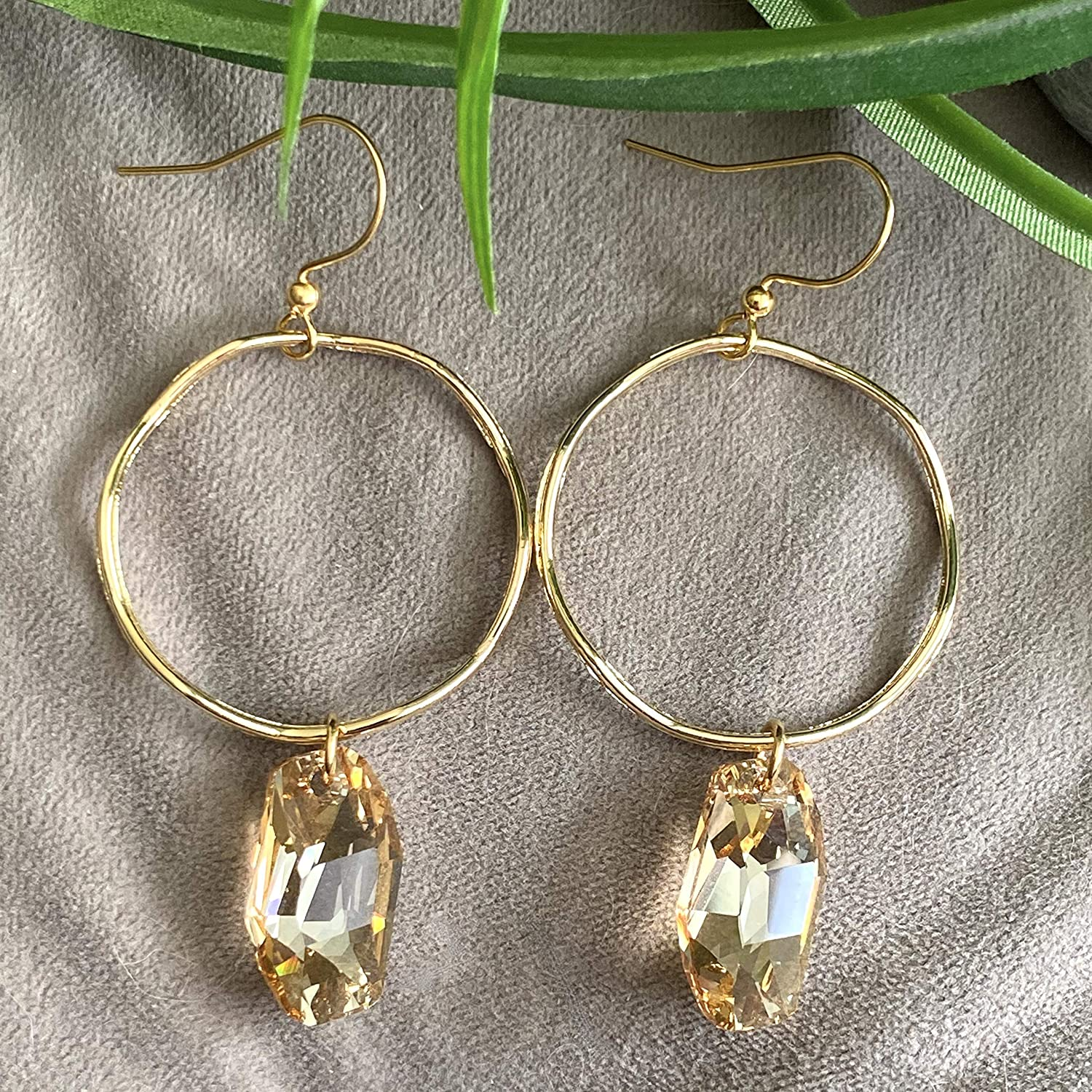 Swarovski Crystal Earrings Gold Wavy Hoop New Indianapolis Mall mail order