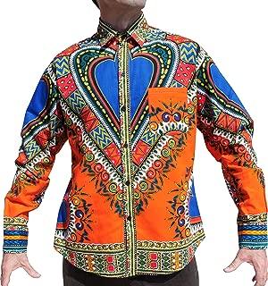 Raan Pah Muang Funk 工装衬衫非洲大喜吉节日长袖欧式领 橙色 X-Large