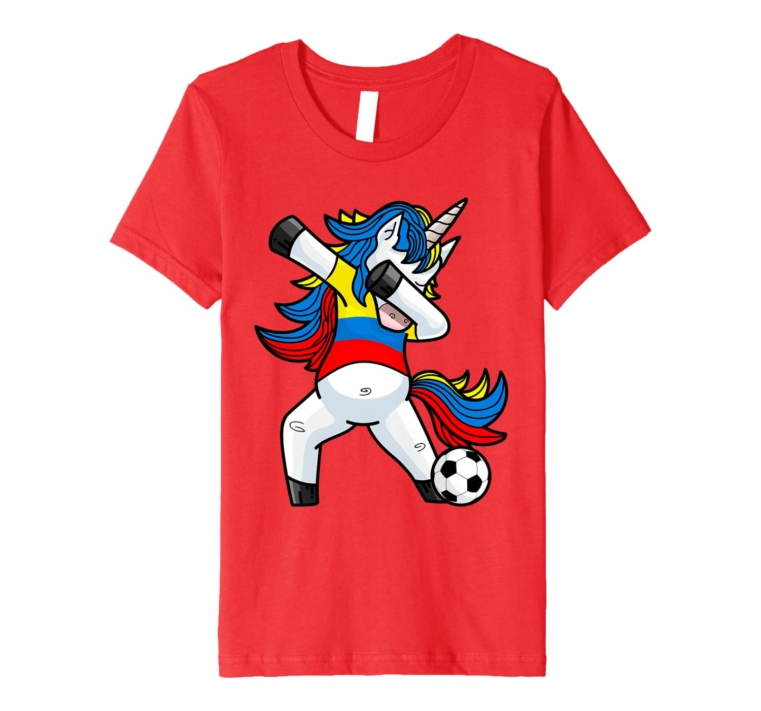 c830f804e04 Amazon.com: Dabbing Soccer Unicorn T Shirt Colombia Colombians Football:  Clothing