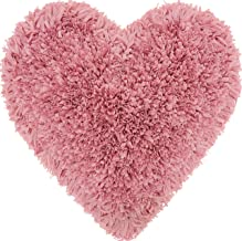 Mina Victory by Nourison TL001 Frame Heart Shag Throw Pillow, 18 x 18, Rose