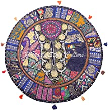 Stylo Culture Indian Kids Floor Pillow Vintage Patchwork Cushion Cover Dark Blue Large 32x32 Decorative Bohemian Round Has...