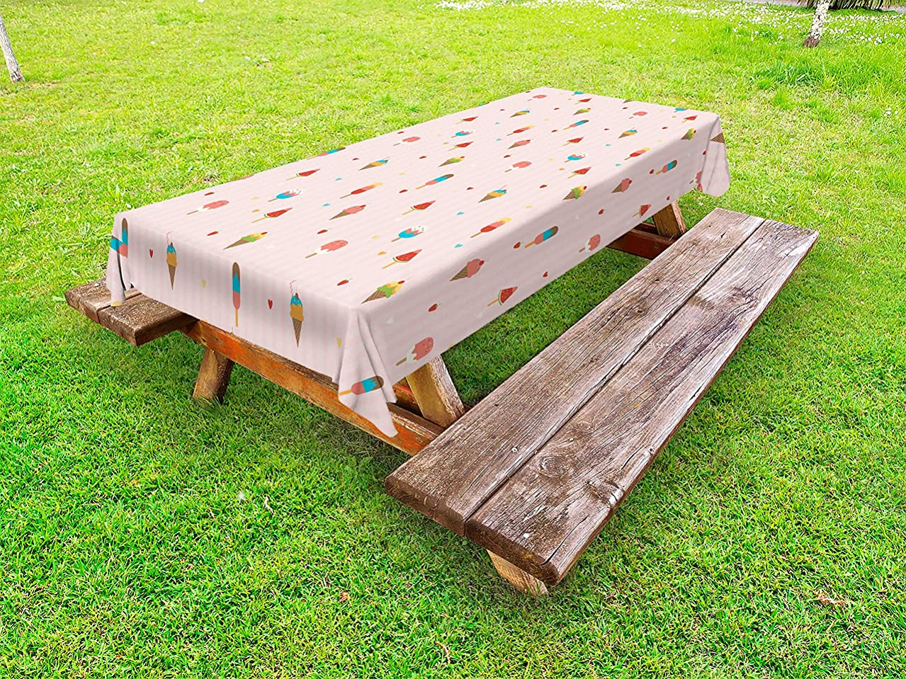 Ambesonne Ice Cream Outdoor Tablecloth, Pastel Pink Striped Backdrop with Hearts Different Toppings on Sticks and Cones, Decorative Washable Picnic Table Cloth, 58 X 84 Inches, Pale Pink
