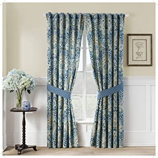 """Waverly Moonlit Shadows Rod Pocket Curtains for Living Room, Double Panel, 84"""" x 100"""", Lapis"""