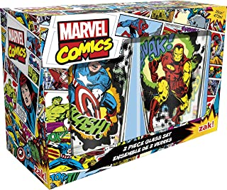 Zak! Designs Pint Glass Tumblers, Marvel Comics Universe, Set of 2, 16 oz. capacity