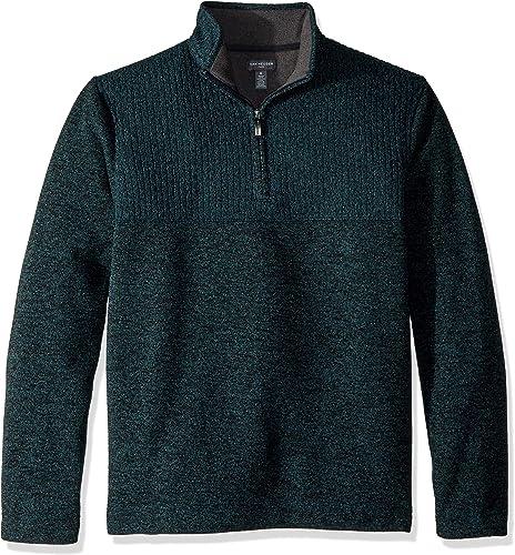 Van Heusen Hommes's Flex 1 4 Zip Texture Block chandail Fleece