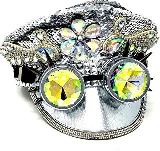 Storm Buy ] Steampunk Style Women Lady Girl Rhinestone Top Hat Feather Halloween Costume Cosplay Party with Goggles