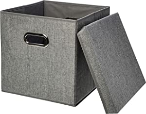 AmazonBasics Foldable Burlap Cloth Cube Storage Bin with Lid, Set of 2