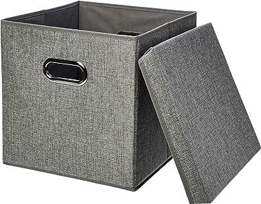 Amazon Basics Foldable Burlap Cloth Cube Storage Bin with Lid, Set of 2