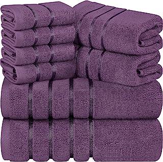 Utopia Towels - Lot de Serviettes de Toilette Prune 8 - Serviettes à Rayures en Viscose - 600 GSM Ring Spun Cotton - Servi...