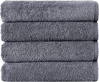 Classic Turkish Cotton Bath Towel Set - Thick and Soft Terry Cloth Hotel and Spa Quality Bath Towels Made with 100% Turkish Cotton (Grey, 24x48)