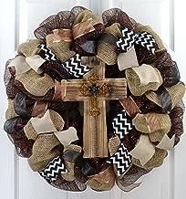 Rustic Door Wreath | Cross Mesh Wreath | Gift for Wife | Front Door Wreath | Black Burlap White Brown