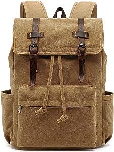 Vintage Canvas Backpack, HuaChen Mens Travel Rucksack for Laptop Hiking School Bookbag (M83_Khaki)