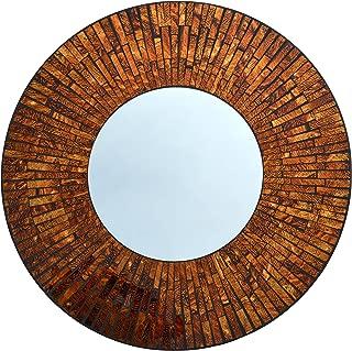 LuLu Decor, Baltic Amber Round Mosaic Wall Mirror, Decorative Handmade Round Mirror, Diameter 23.5