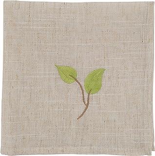 "SARO LIFESTYLE Vineland Collection Embroidered Vine Table Napkins (Set of 4), 20""x20"", Natural"