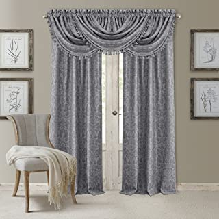 Elrene Home Fashions 20860ELR Antonia Blackout Rod Pocket/Back Tab Window Curtain Panel,Silver,52