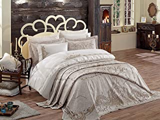 DANTELA Embroidered & Jacquard Queen Duvet Cover Set 7 Pieces Hotel Bedding Sets Comforter Cover with Soft Lightweight 100% Cotton 1 Duvet Cover, 1 Bed Sheet, 1 Pique and 4 Pillow Shams