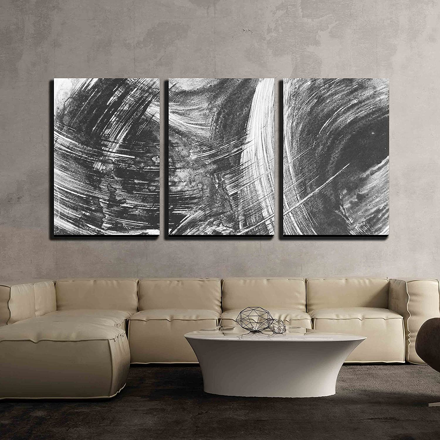 Wall26 - 3 Piece Canvas Wall Art - Black and White Abstract Brush Painting - Modern Home Decor Stretched and Framed Ready to Hang - 24 x36 x3 Panels