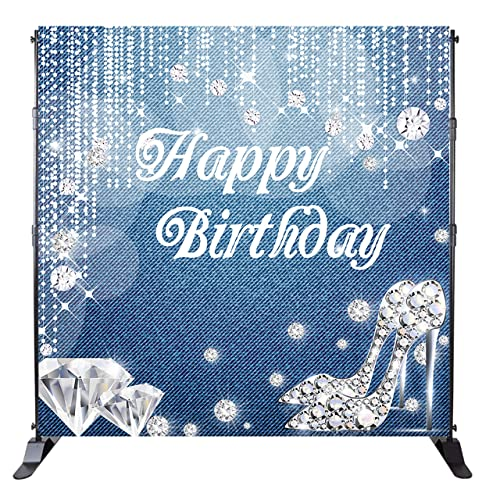 2f227b7232f Mehofoto Happy Birthday Backdrop Denim Diamonds Background Crystal Shoes  Birthday Party Banner Decoration Woman Customized 8x8ft