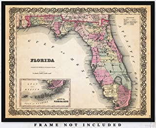 Vintage Map of Florida Wall Art Print: Unique Room Decor for Boys, Men, Girls & Women - (11x14) Unframed Picture - Great Gift Idea Under $15