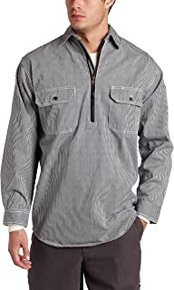 Key Industries Men's Long Sleeve Zip Front Hickory Stripe Logger Shirt