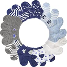 BARE HUGS Infant Boys 10 Pk All Weather Multicolored Low Cut Socks for 6-12 and 12-24 Mon (See More Colors Designs and Sizes)