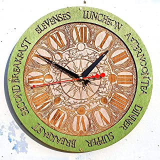 Meal Times Sun and Moon Wooden Wall Clock green Handcrafted home decor, personalized custom gift, housewarming design, kitchen victorian vintage style, meal planning, living room decorative art