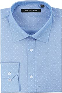 Verno Men's Dress Shirts Printed Slim Fit Long Sleeve Formal Business Shirt - Available in More Colors