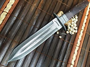 Cuchillo de damasco cuchillo de caza de hoja fija con funda de cuero