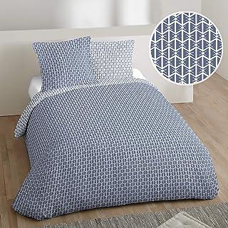 Côté Déco Parure de lit Bleu Dolce 100% Coton 240x220 cm
