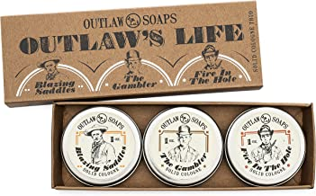 """""""The Outlaw's Life"""" Western Cologne Gift Set - The Scent of the Wild West in 3 Perfectly Pocket-sized Solid Cologne Tins - 1 oz Each - Handmade in the USA"""