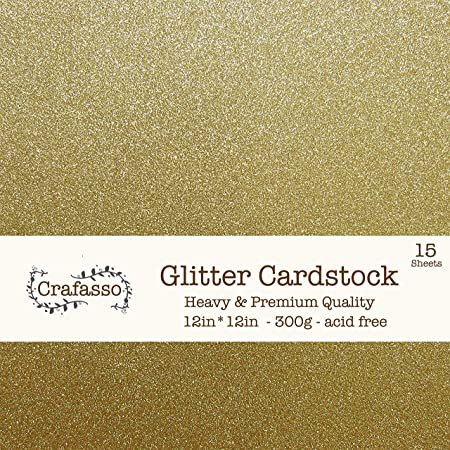 Surprise Parties Use for Scrapbooking Weddings Holidays Birthdays 300GSM for Paper Cutting Bending Or Shaping Gold, 5 Pack Premium 5 Sheets Glitter Cardstock 12 x 12