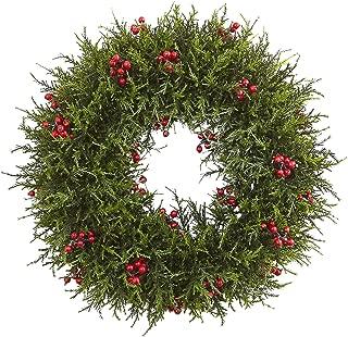 Nearly Natural Cedar Berry Wreath, 20