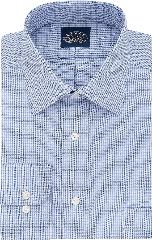 Eagle Men's Dress Shirt 35% OFF Non Iron Stretch Fit Regular Chec Collar Max 73% OFF