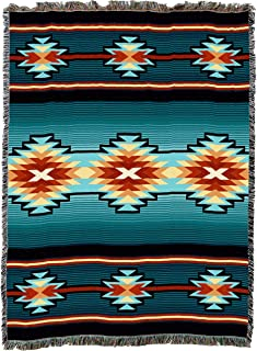 Pure Country Weavers Large Southwest Blanket 100% Cotton, Soft Woven Tapestry, Iconic Fringe Design, Native American Inspired Pattern, Tribal Camp Throw Made in USA (72x54)