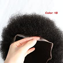 Lumeng Afro Toupee for Black Men Human Hair Black Mens Curly Toupee Transparent Lace Man Weave Balding Mens Custom Hair Unit 8x10inch Male Hair Replacement with Weaves 120% Medium Density 1B Off Black