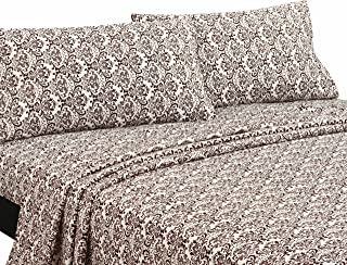 Wilshire Hill Damask Sheet Set,Queen, Ivory/Chocolate