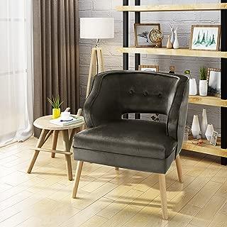 Christopher Knight Home 304040 Michaela Mid Century Grey Velvet Accent Chair
