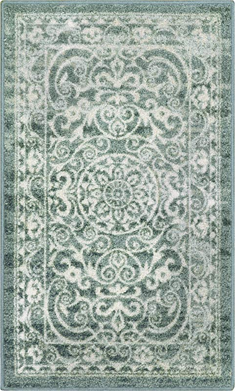 Maples Rugs Kitchen Rug Pelham 2 6 X 3 10 Non Skid Small Accent Throw Rugs Made In USA For Entryway And Bedroom Light Spa