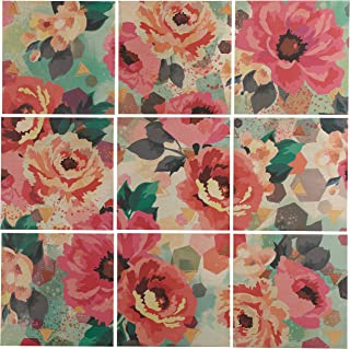 9-Piece Pastel Floral Art Mural on Wood, 60